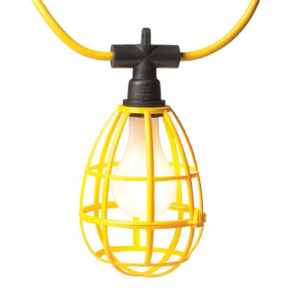Engineered Products EPCO 16010 Deluxe Temporary Cord Light, Incandescent/CFL/LED, 150 W Fixture, Yellow, 10 Lamps