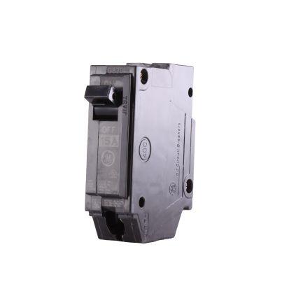 GE Q-Line® THQL1115 Molded Case Circuit Breaker, 120/240 VAC, 15 A, 10 KA Interrupt, 1 Poles, LI/Non-InterchanGEable Thermal Magnetic Trip