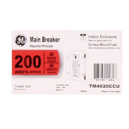 GE Powermark Gold™ TM4020CCU TM Series 1-Phase Combination Standard Main Breaker Load Center, 120/240 VAC, 200 A, 22 KA Interrupt