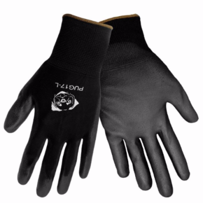 Global Glove PUG17-I-9 Black Polyurethane Palm Dip On Black Nylon 13 Gauge (Bagged Individually)