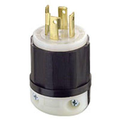 Leviton® Black & White® 2731 3-Phase Grounding Cable Mount Locking Plug, 480 VAC, 30 A, 3 Poles, 4 Wires, Black/White