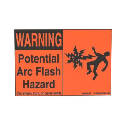 PANDUIT PPS0204W2100A ADHESIVE SIGN, POLYESTER, 'WARNING ARC FLASH HAZARD'