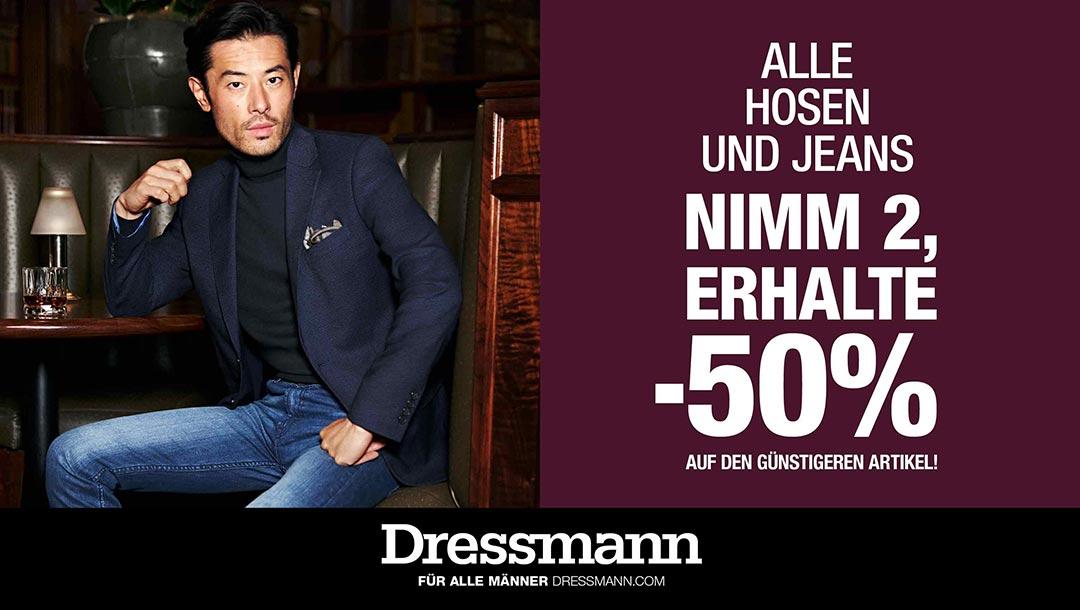 -50% auf die 2te Hose&Jeans bei Dressmann