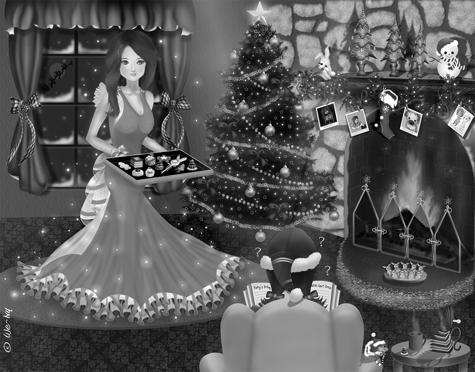 Meaningful way of celebrating Christmas ~ illustrated by We~Ivy. Learn more about this art on interactive weivyartbook.com; you can see the details using virtual magnifying glass or browse some gift ideas in this theme for Christmas time or for daily use and all year long at pinterest.com/weivyARTBOOTH and society6.com/weivy?curator=weivy.