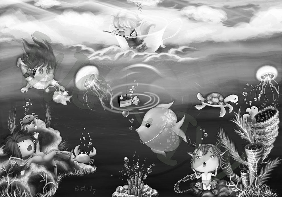 A greyscale/ monochrome digital illustration of under the sea, called 'The FUN•tastic Ocean' by We~Ivy, a female digital artist, a freelance illustrator based in Switzerland. The art describes there were four cute original characters (OCs) having fun with the sea critters in the FUNtastic Ocean under a clear sky. The drawing is in a cartoon style or known as anime chibi in Japanese term. In this interactive Art Book, visitors may explore every inch of the art using a virtual magnifying glass to view the bigger size of this painting even closer.