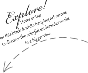 An image of a curvy dashed arrow sign towards a big art canvas; it tells the readers to explore further the digital painting by hovering or tapping on the greyscale image with a virtual magnifying glass. The zoom effect reveals the details and the color.
