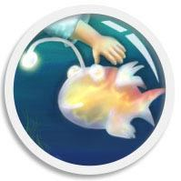 A focus animated thumb of a glowing Spooky-Lanternfish that lives in FUN•tastic Ocean, an underwater world of illusion, illustrated by We~Ivy aka Shillmynara. It is a digital drawing of a friendly fish that lives in the deep ocean.