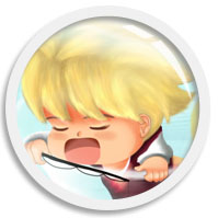 A headshot cartoon art with rotating animation of a blond short hair Original Male Character dozing off while holding a fishing rod, framed in a ship porthole window, illustrated digitally by We~Ivy