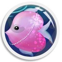 A cute thumb image of a pink heart-shaped fish, illustrated by We~Ivy in her art, the FUN•tastic Ocean.