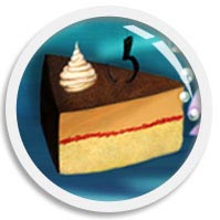 A morphing image thumb illustrating a piece of vanilla-mocha and cherry jam layer cheesecake, digitally drawn by We~Ivy in her art FUN•tastic Ocean.