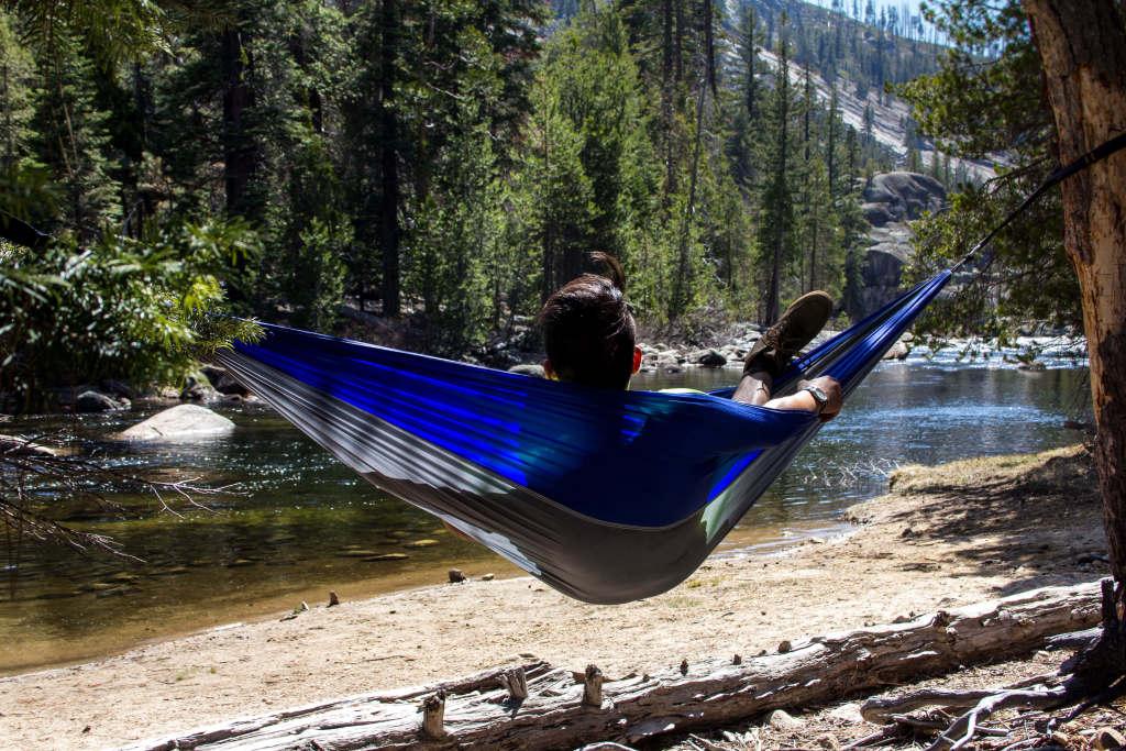 taking a hammock break at the merced river