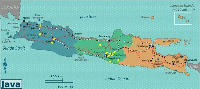 Карта моего путешествия по Яве