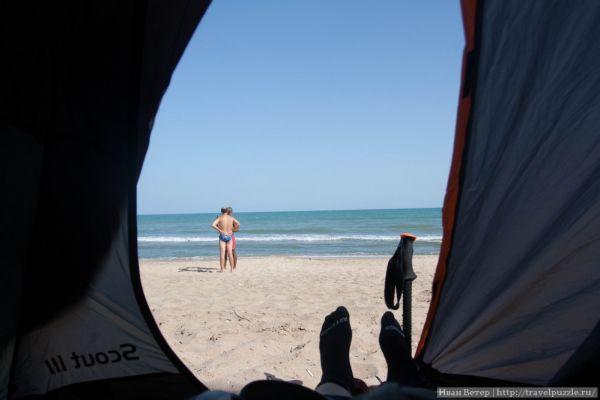 Вид из палатки на самое море