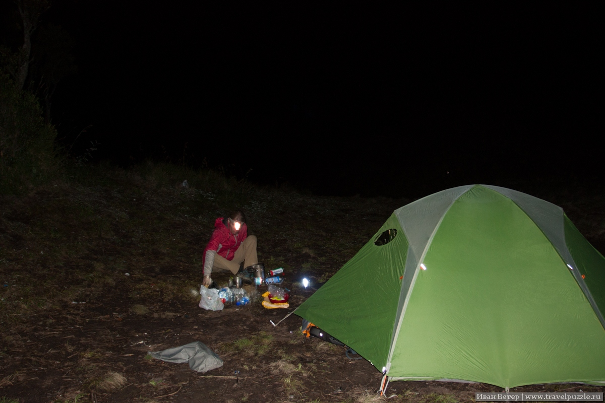 Ставим лагерь в темноте