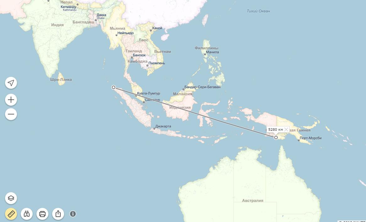 А вот это - от западной оконечности Сулавеси, до восточной границы Папуа.