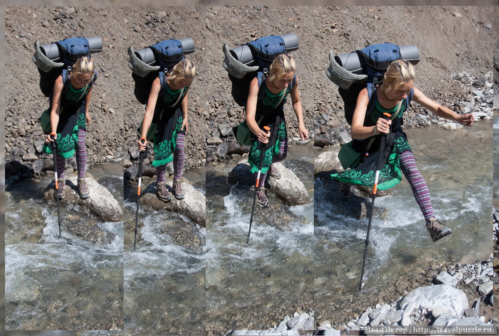 Как переходить горную речку - пособие от Киры