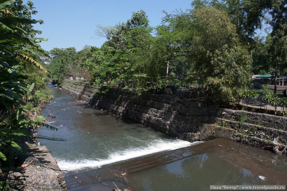 Одна из рек города делит зоопарк на две части