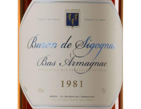 BARON DE SIGOGNAC ARMAGNAC MILLÉSIMÉ 1981 70 CL