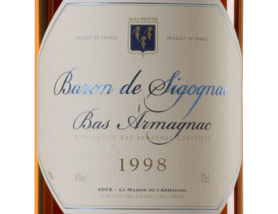 BARON DE SIGOGNAC ARMAGNAC MILLÉSIMÉ 1998 70 CL