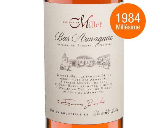 CHÂTEAU DE MILLET MILLET ARMAGNAC MILLESIME 1984 70 CL 1984