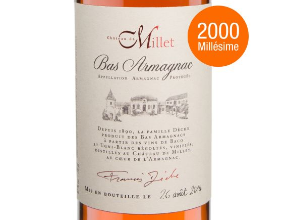 CHÂTEAU DE MILLET MILLET ARMAGNAC MILLESIME 2000 70 CL 2000