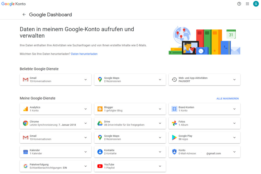 Google, Daten löschen, Dashboard