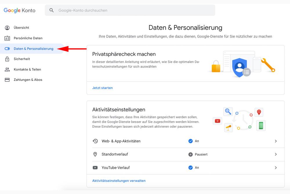 Google, Daten löschen