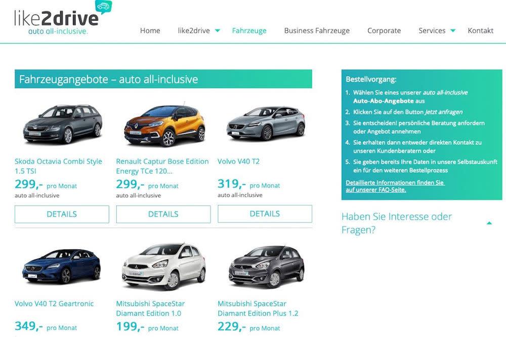 Anders als bei Sixt, weiß man bei like2drive, welches Auto man bekommt. Konfiguration und Autofarbe können nicht ausgewählt werden.