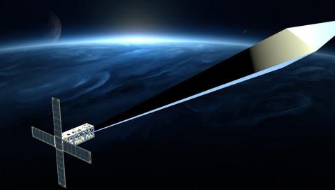 Dieser Satellit soll eine glänzende Skulptur in den Weltraum bringen