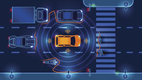 Ein selbstfahrendes Auto, das besondere Rücksicht auf Fußgänger nimmt