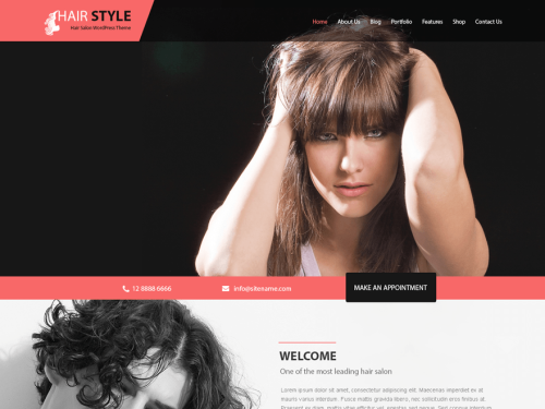Hairstyle Responsive Hair Salon WordPress theme - WordPress Theme