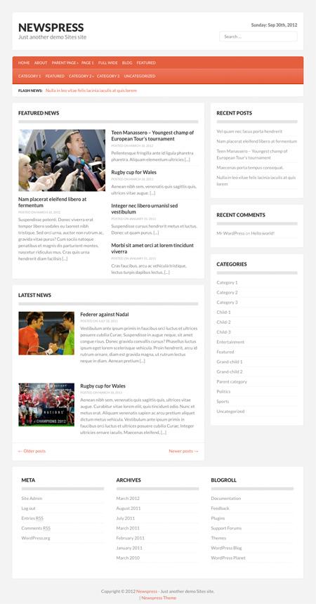 Newspress WordPress theme by Fabthemes