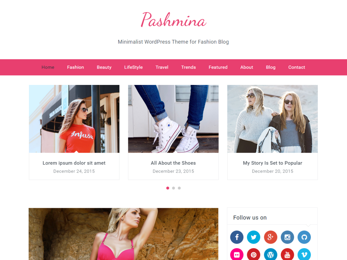 Pashmina Fashion Blog WordPress Theme - WordPress Theme