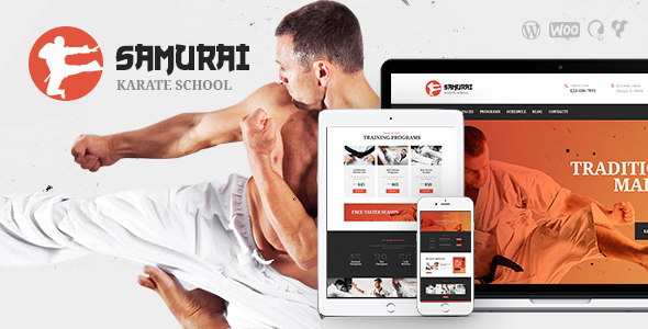 Samurai Karate School And Fitness Center - WordPress Theme