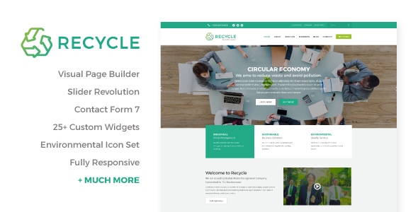 Recycle Environmental Recycling WordPress Theme - WordPress Theme