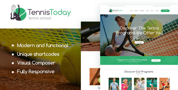 Tennis Today Sport School Events Theme - WordPress Theme