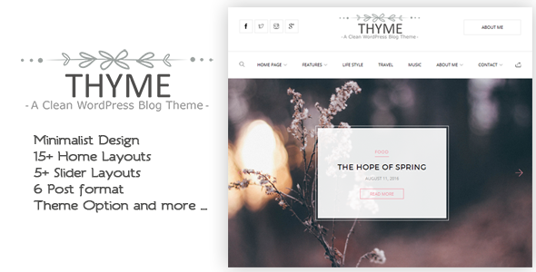 Thyme A Responsive WordPress Blog Theme - WordPress Theme