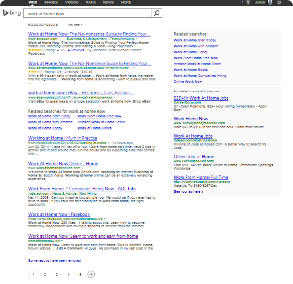 "Bing Search for ""work at home now"""