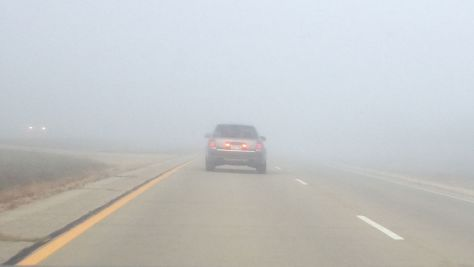 An Audi in very foggy conditions properly using rear fog lights (on either side of the license plate).