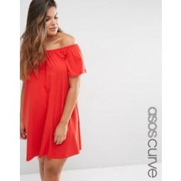 ASOS CURVE - Boho - Schulterfreies Kleid - Rot