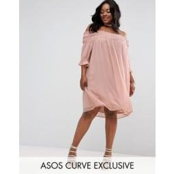 ASOS CURVE - Schulterfreies, gerafftes Kleid - Rosa
