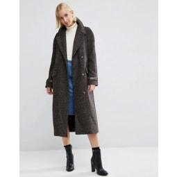 ASOS - Karierter Mantel mit Kontrast-Manschette - Mehrfarbig