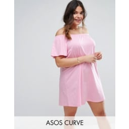 ASOS CURVE - Schulterfreies Minikleid - Rosa