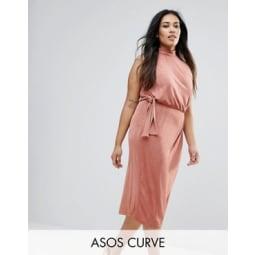 ASOS CURVE - Hochgeschlossenes, figurbetontes Midikleid mit seitlicher Schnürung - Rosa