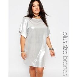 Missguided Plus - Glänzendes T-Shirt-Kleid - Silber