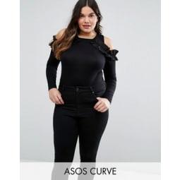 ASOS CURVE - Body mit gerüschten Schulterausschnitten - Schwarz