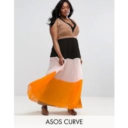 ASOS CURVE - Maxikleid mit Falten, Blockfarben und tiefem Ausschnitt - Mehrfarbig
