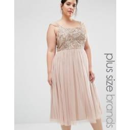 Lovedrobe Luxe - Verziertes Minikleid mit Tüllrock - Beige