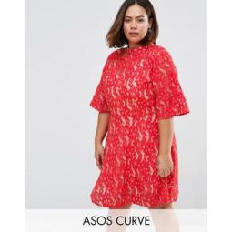 ASOS CURVE - Hochwertiges Mini-Skaterkleid aus Spitze mit Kimono-Ärmeln - Rot