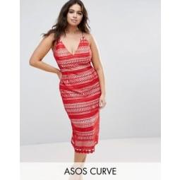 ASOS CURVE - Hitchcock - Midi-Bleistiftkleid aus Spitze mit Trägern - Rot